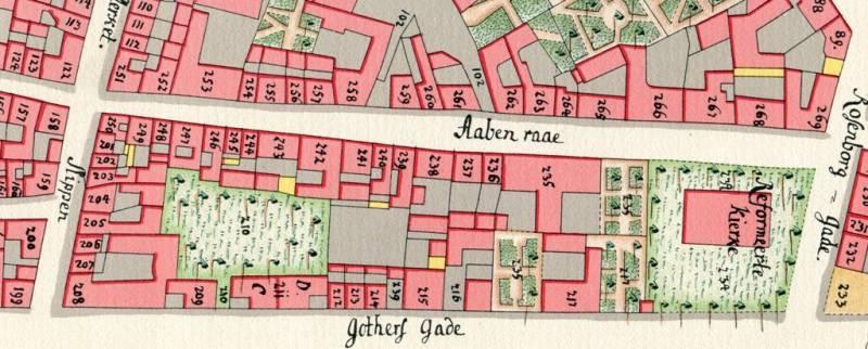 Åbenrå - Som i 1757 forbindes Åbenrå også i dag med Rosenborggade (t.h.) og Landemærket (t.v.) og fortsætter som Vognmagergade - Geddes kvartkort fra 1757