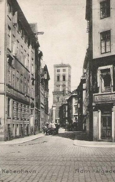 Admiralgade set fra krydset Boldhusgade-Laksegade - postkort fra ca.1910