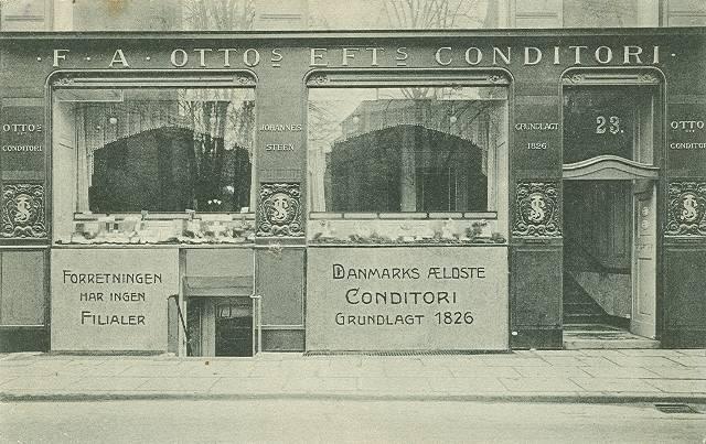 Amagertorv 23 - F. Ottos Konditori - postkort afsendt i 1911