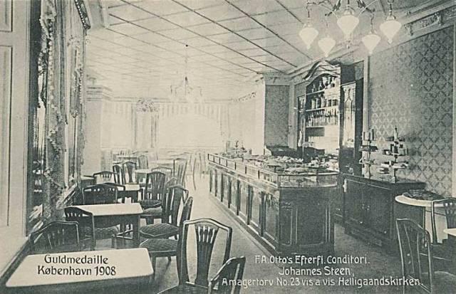 Amagertorv 23 - F.A. Ottos konditori - postkort fra 1908