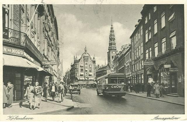 Amagertorv - Postkort nr.401 udgivet af Rudolf Olsen - afsendt i 1935
