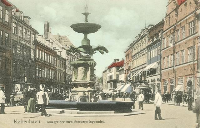 Amagertorv - Storkespringvandet - Postkort nr.102 udgivet af Frits Benzen - ca.1910