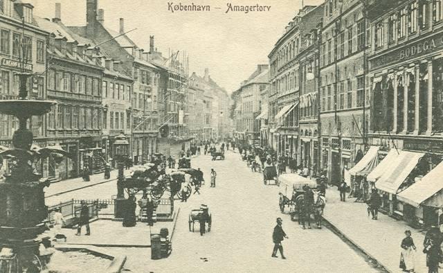 Amagertorv i sne - Postkort afsendt i 1904 - ukendt udgiver