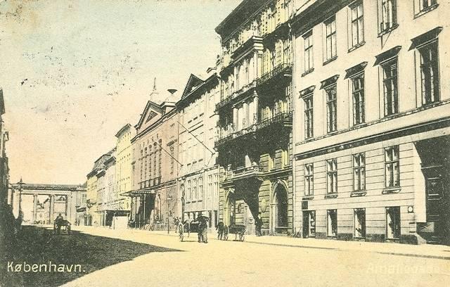 Amaliegade - Amaliegades lige numre på strækningen fra Sankt Annæ Plads til Amalienborg Slotsplads - postkort fra 1911