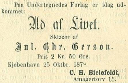 Annonce i Illustreret Tidende nr.996 - 27.oktober 1878 - Ud af livet