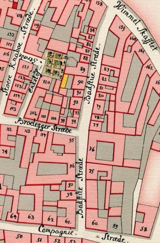 Badstuestræde - Kortudsnit af Geddes kvarterkort fra 1757