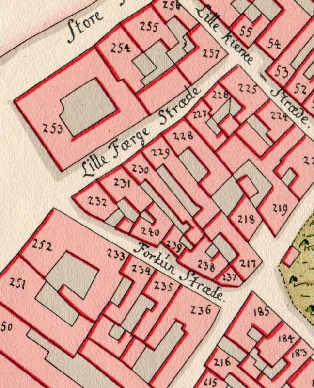 Fortunstræde - Geddes kvarterkort fra 1757