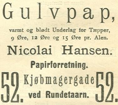 Købmagergade 52 - 8 - Annonce fra Illustreret Tidende nr.7, 14.november 1886