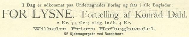 Købmagergade 52 - 9 - Annonce fra Illustreret Tidende nr.11, 12.december 1886