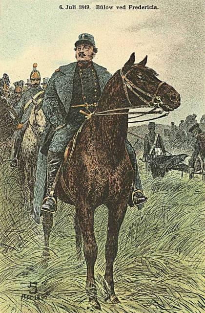 Klareboderne 16 - 7 - postkort med Frederik Bülow ved Fredericia 1849