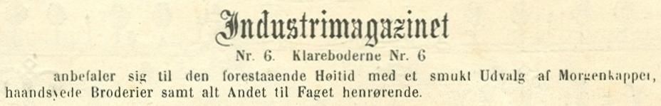 Klareboderne 6 - 6 - Annonce fra Illustreret Tidende nr.689, 8.december 1872