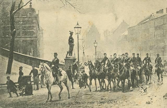 slotsholmsgade-postkort-med-boersen-til-venstre-maleri-af-otto-bache-afsendt-i-1907