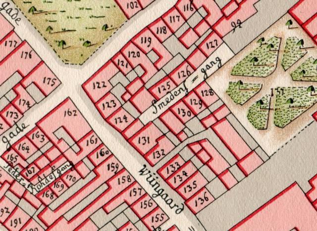 Smedens Gang - Kortudsnit af Geddes kvarterkort fra 1757
